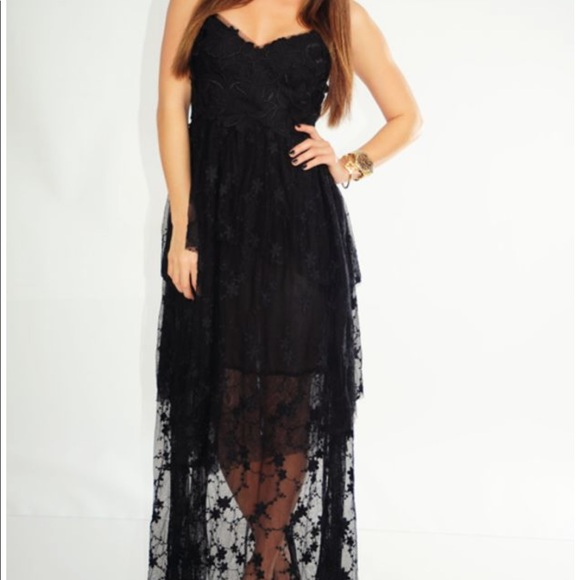 Ark & Co Dresses & Skirts - Ark & Co Black Lace Tiered Layered Lace Maxi Dress